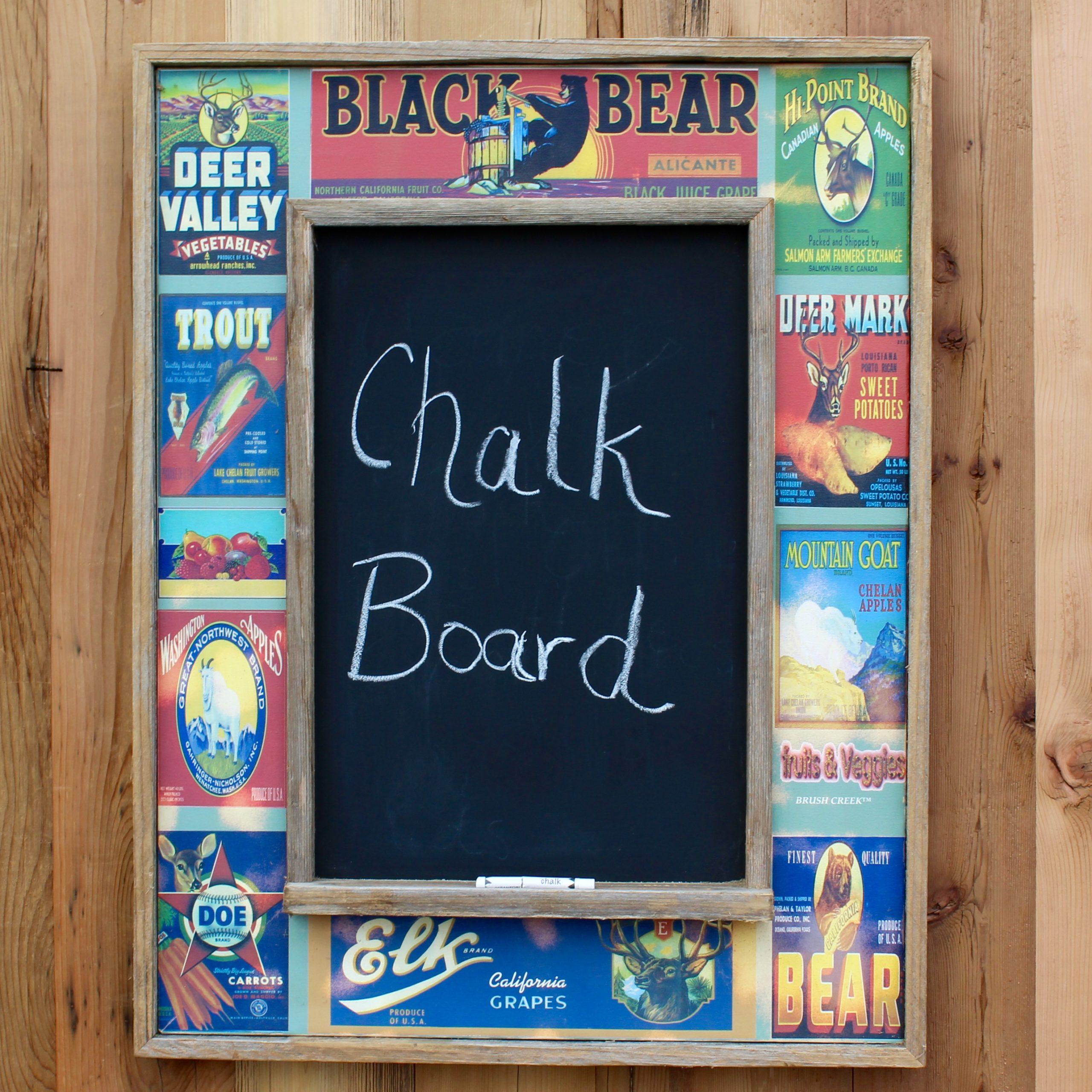 Rustic Vintage Vegetable Label Chalk Board